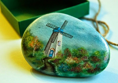 oil paintings on stone by Yana Khachikian