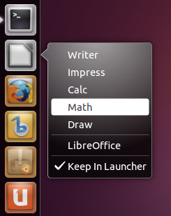 ibreOffice Launcher Quicklist Ubuntu 11.04