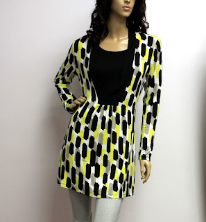 My Lovely Closet - Black in Yellow Patches Princess Cut Blouse