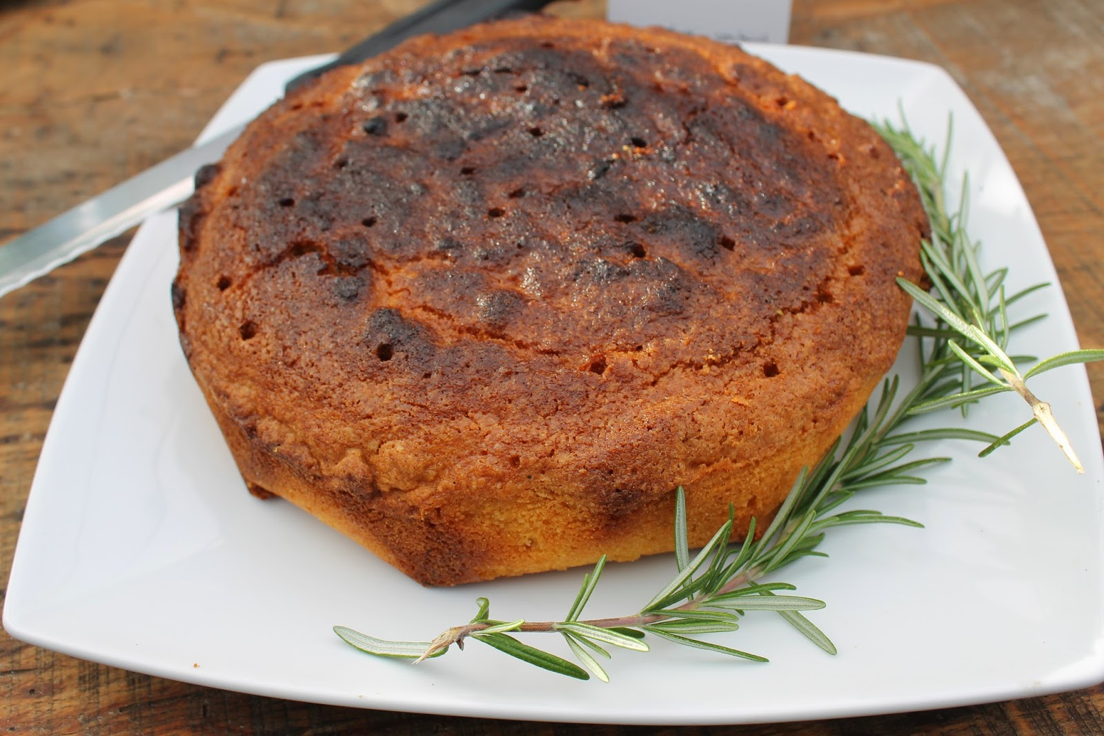 Gluten-free lemon and rosemary polenta cake
