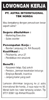LOKER LAMPUNG 2016 Terbaru - PT. Astra International, Tbk