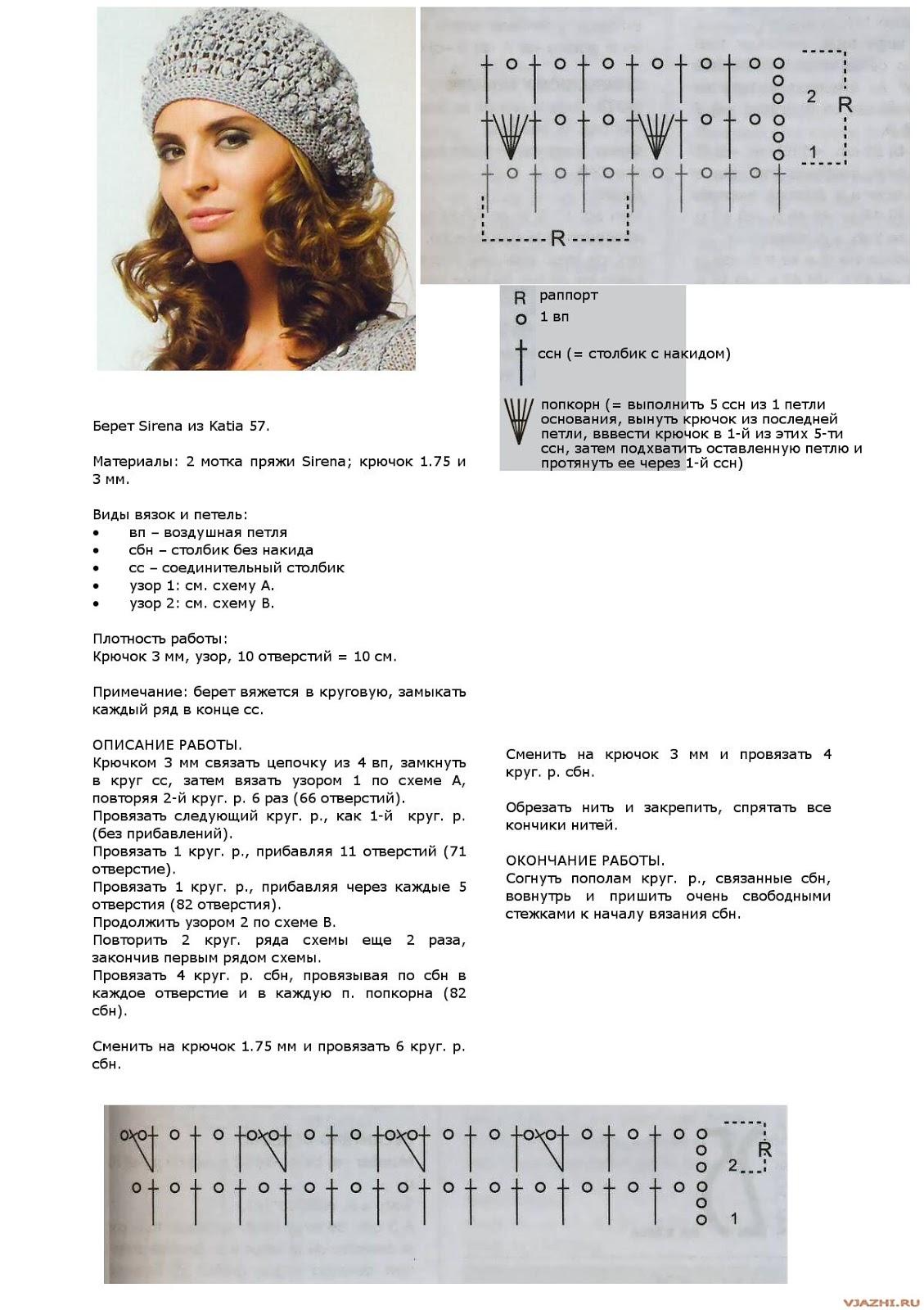 Схемы и фото вязания беретов спицами