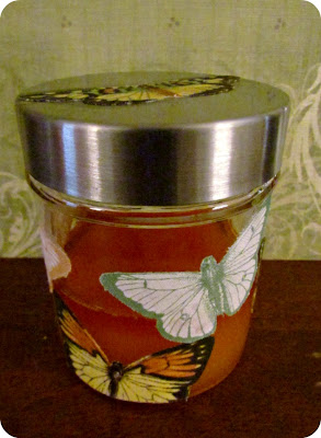 natural hand scrub, carotino oil scrub, butterfly container, butterflies, mod podge