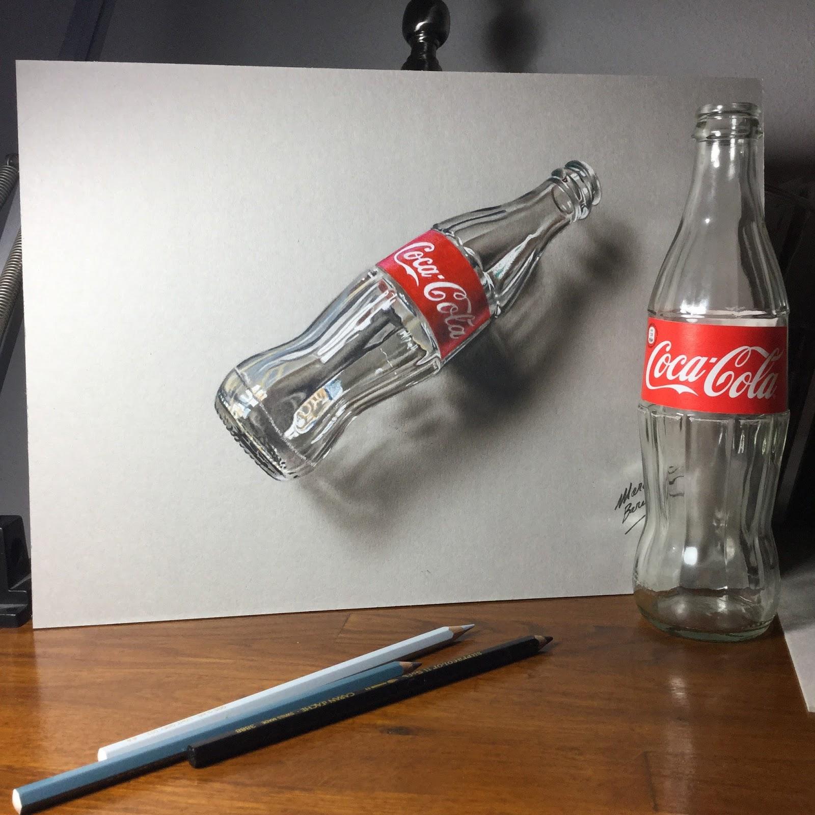 Marcello Barenghi: 3D Art, Drawing an empty glass bottle ...