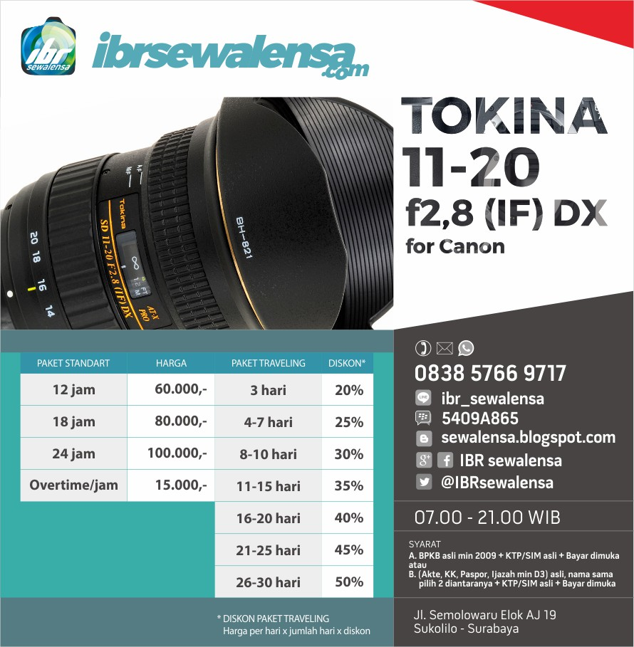 TOKINA AF 11-20mm f/2.8 (IF) DX for Canon Harga sewa rental lensa kamera