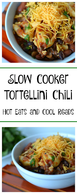 A delicious twist on regular chili! Perfect for dinner or set up as a chili bar for game day! Slow Cooker Tortellini Chili Recipe from Hot Eats and Cool Reads