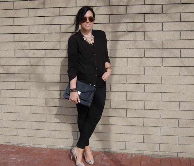 Loeffler Randall Rider bag, Forever 21 blouse, Old Navy Rockstar jeans and snakeskin pumps