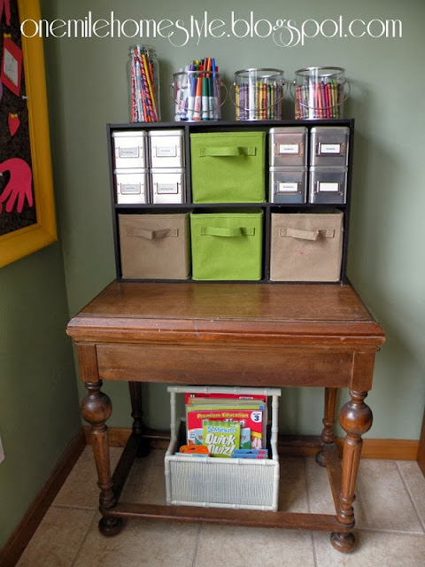 Using a side table for art supply organization