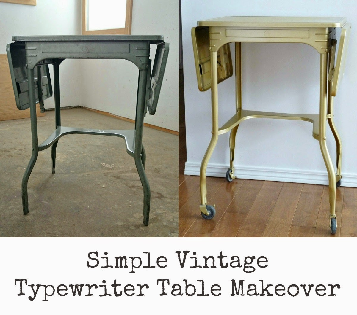 Going For Gold   How To Paint A Vintage Typewriter Table