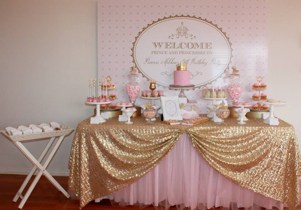 Little big company the blog gold and pink princess themed birthday party by couture event styling - Pink baby shower table decorations ...