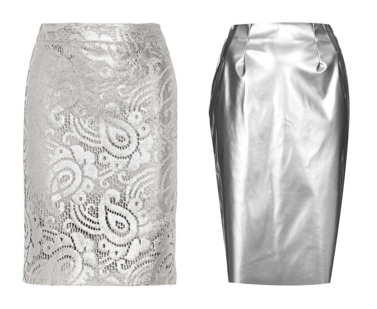 Moschino and Topshop metallic pencil skirts