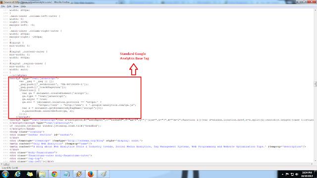 how a standard Google Analytics base tag looks like