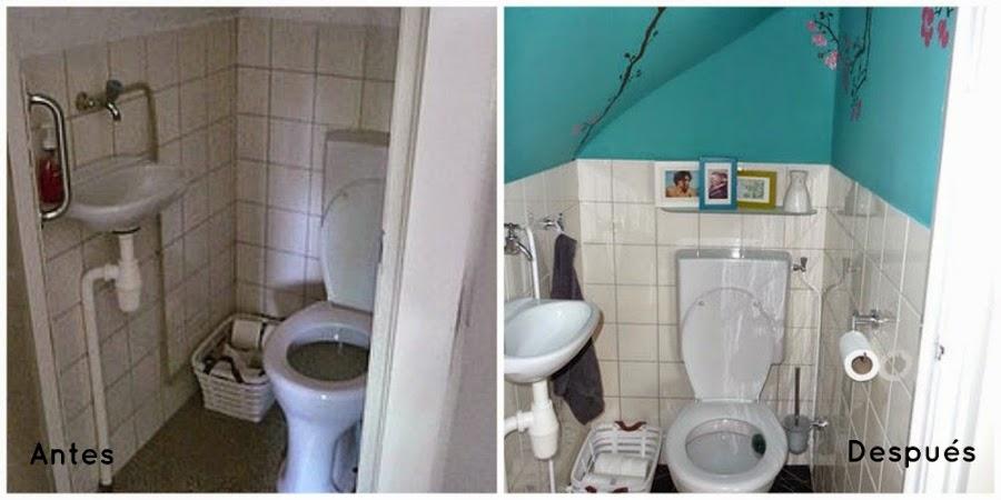 Antes y despues de un baño tueando con pintura y vinilo decorativo