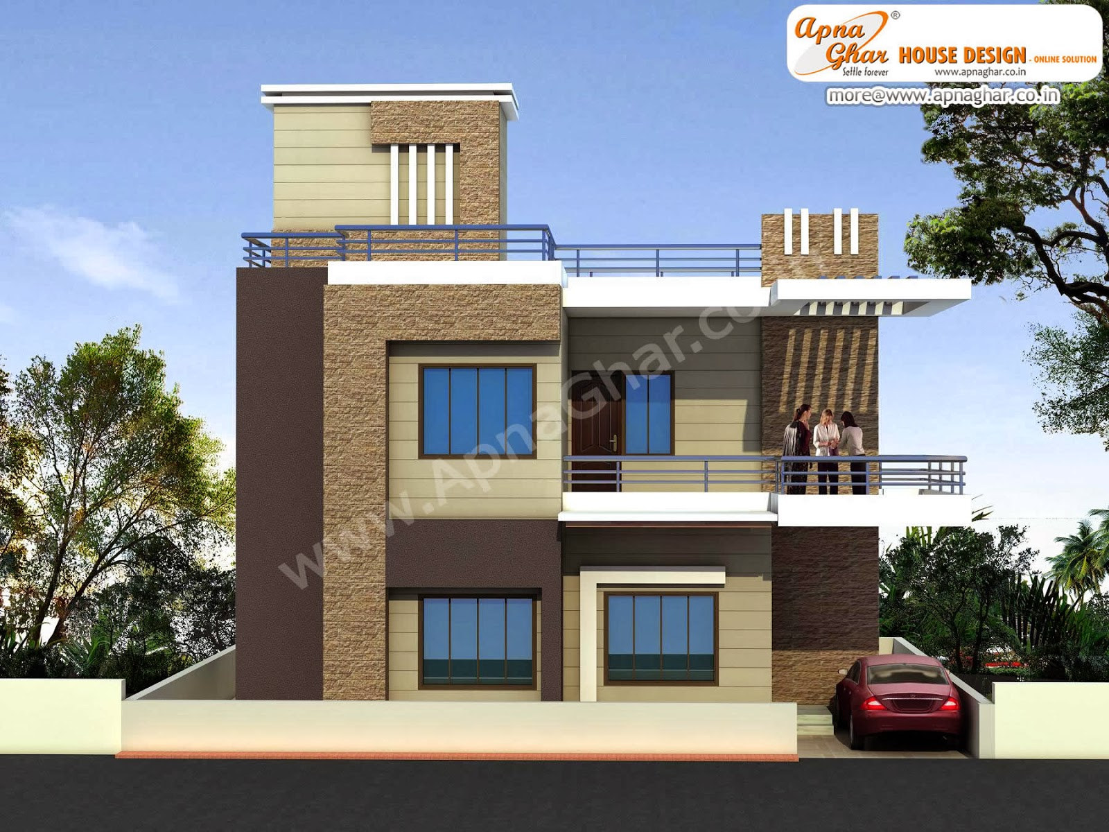 Modern beautiful duplex house design in 920 square feet for Modern duplex house designs