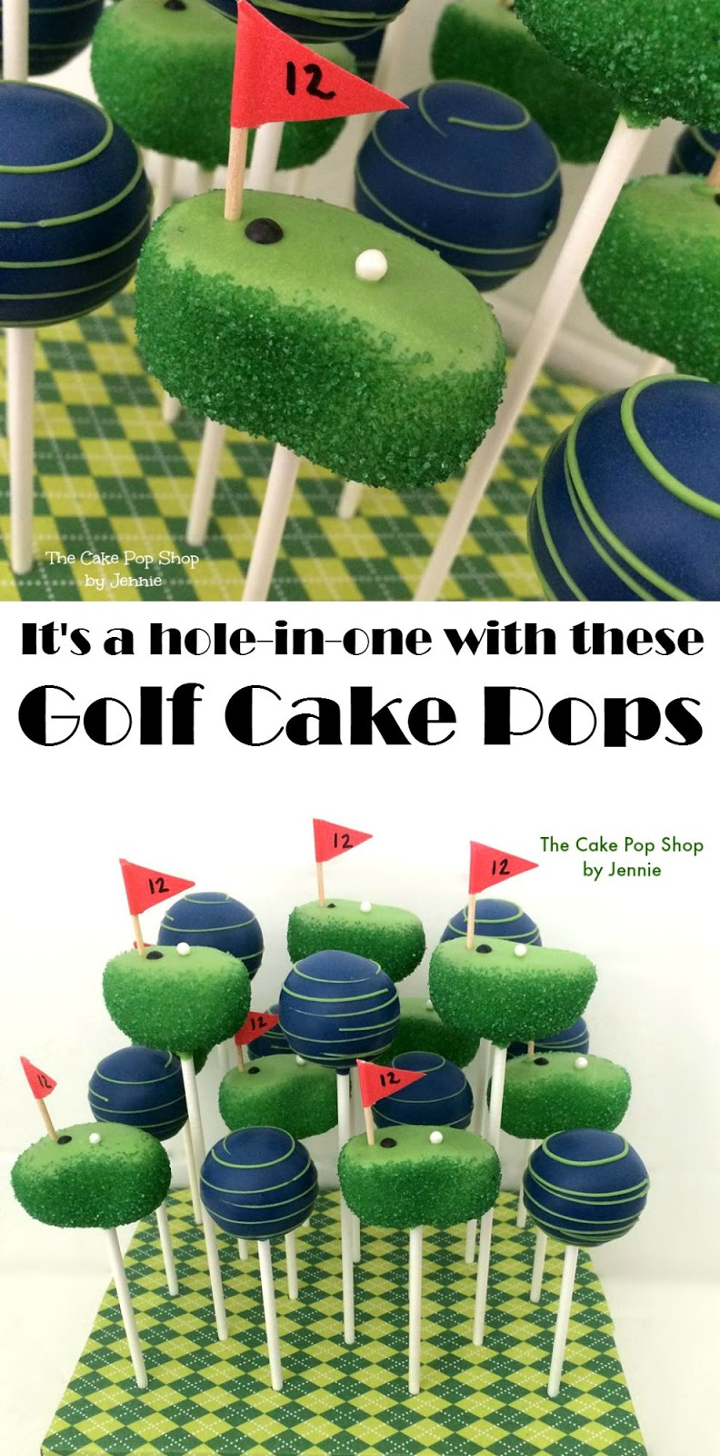 "Your party will be a ""hole in one"" with these fun Golf Cake Pops. Learn how you can make them at home with a full tutorial and video."