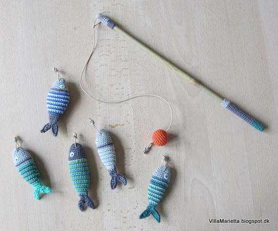 Hæklede fisk og fiskestang