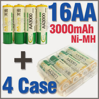 4 x Holder Case Box + 16 AA Ni-MH 3000mAh 1.2V rechargeable battery BTY Green