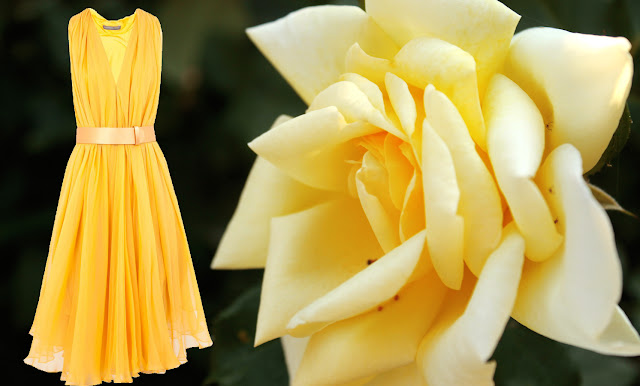 Alexander McQueen yellow dress and a yellow rose