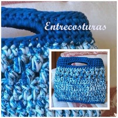 Bolso de trapillo azulón. Entrecosturas accesorios artesanales.