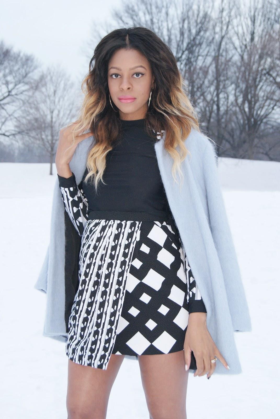 mixed prints, mohair coat, pastel coat, zara coat, ombre hair, allthingsslim,