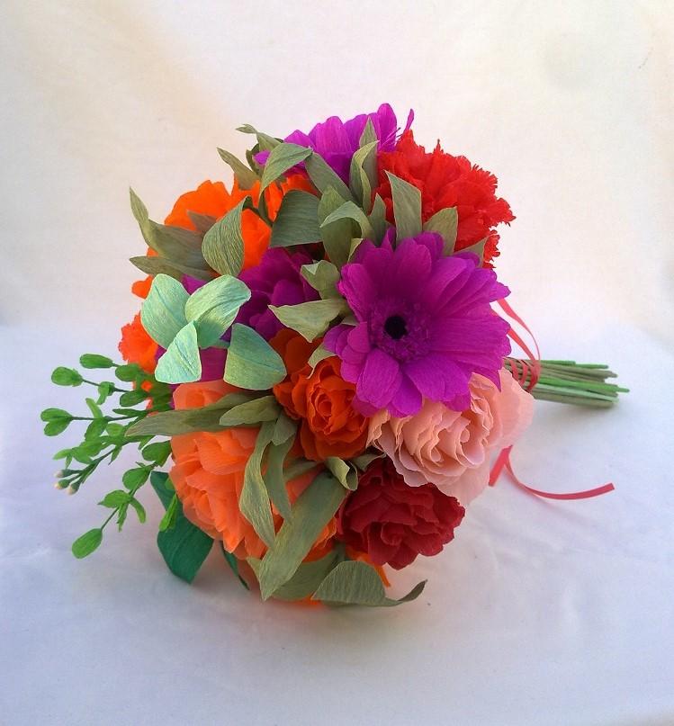 Crafty Little Beanut Bright Paper Flower Wedding Bouquet Unfinished