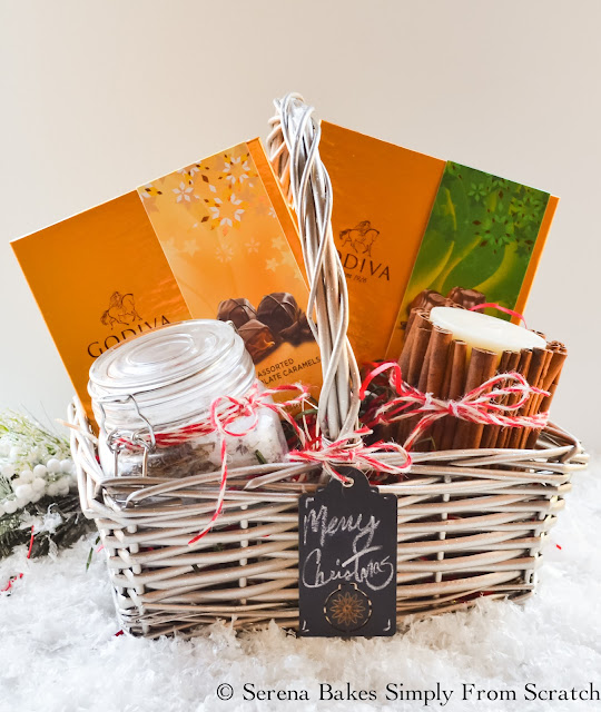 Holiday Gift Basket Ideas with fun ideas for teenagers, men or women including a DIY Lavender Rosemary Mineral Bath and Homemade Cinnamon Candle. serenabakessimplyfromscratch.com