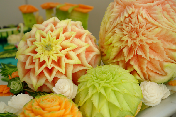 Beautiful fruit and vegetable carvings