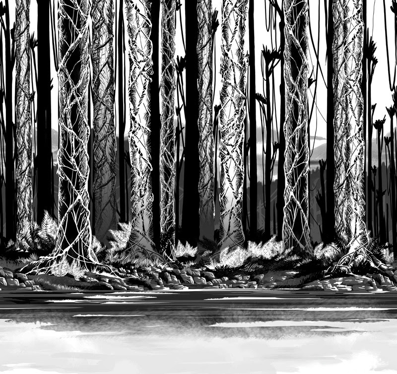 illustration de Vince Chui représentant une forêt en noir et blanc