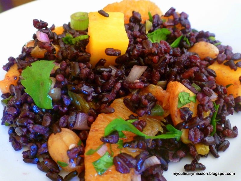 ... to cook through my 200+ books: Black Rice Salad with Mango and Peanuts