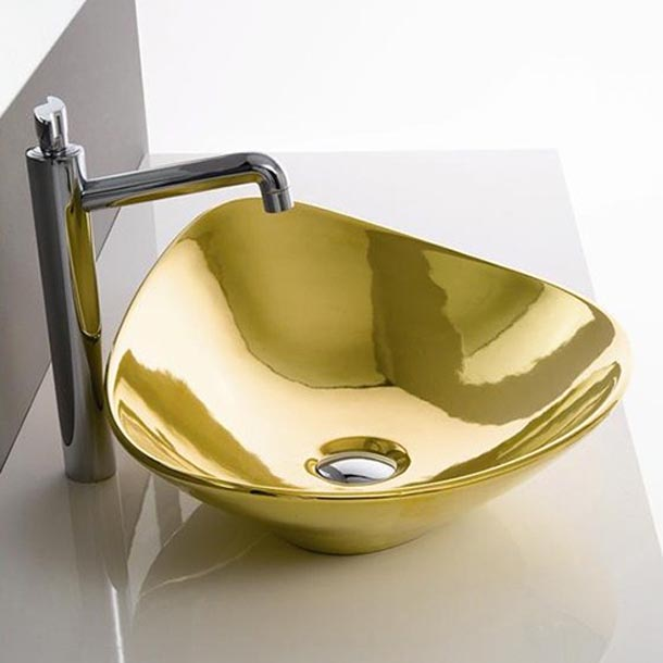 bathroom remodeling with gold color by