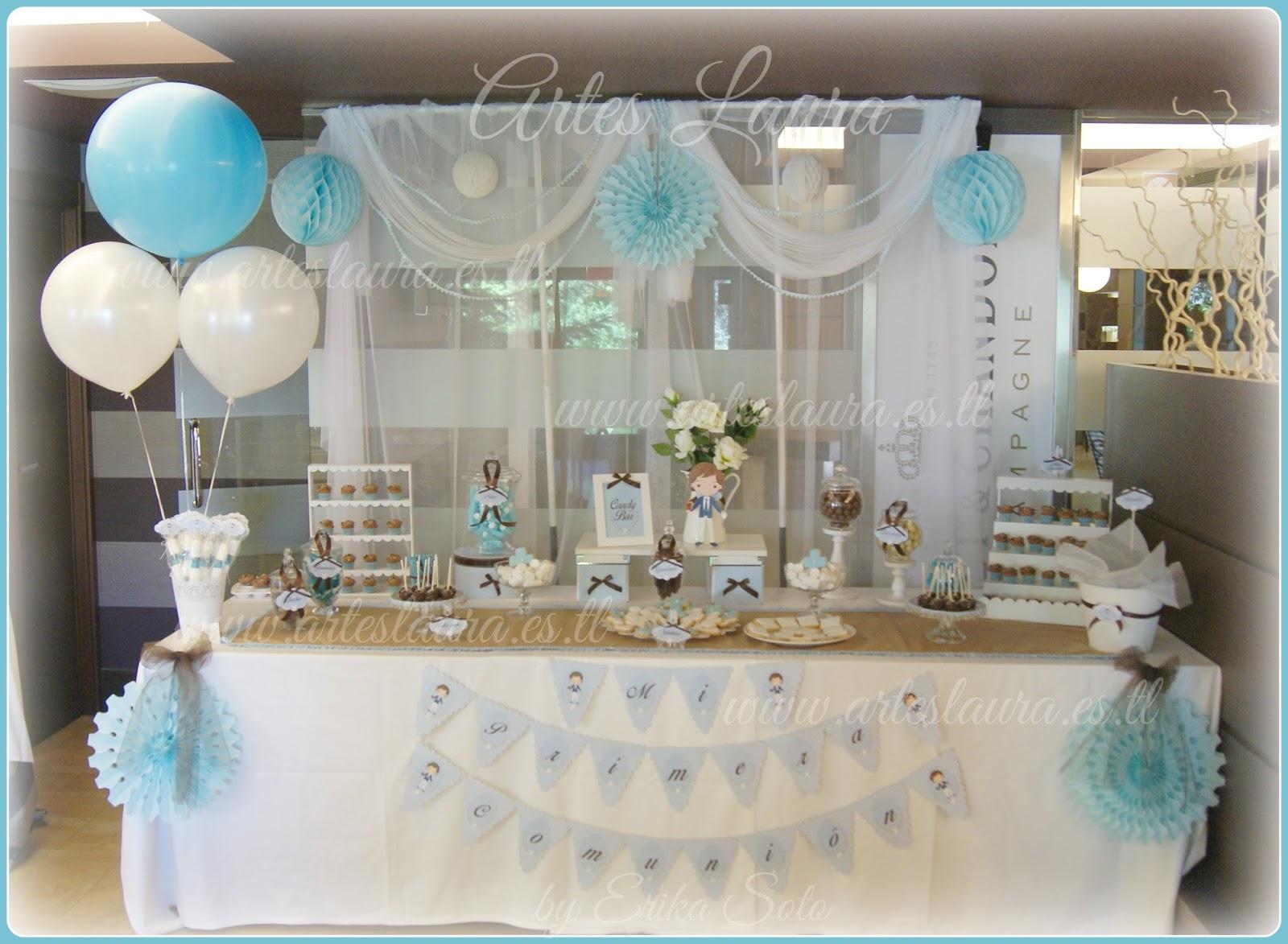 Candy bar o mesa dulce personalizada para primera comuni n for Como decorar mesa de postres para baby shower