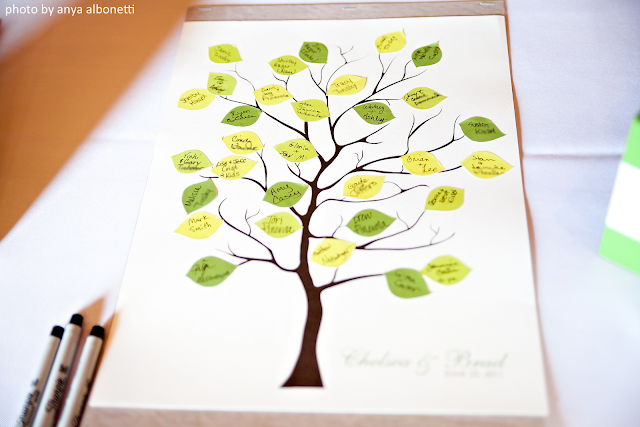 I found a wedding guest book tree that had selfadhesive leaves