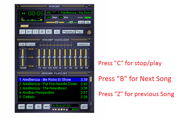Winamp Shortcut Keys for Next/Previous/Stop/Play