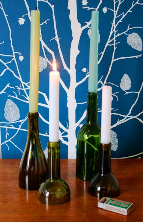 How to recycle creative uses for your wine bottles for Make candle holder wine bottle