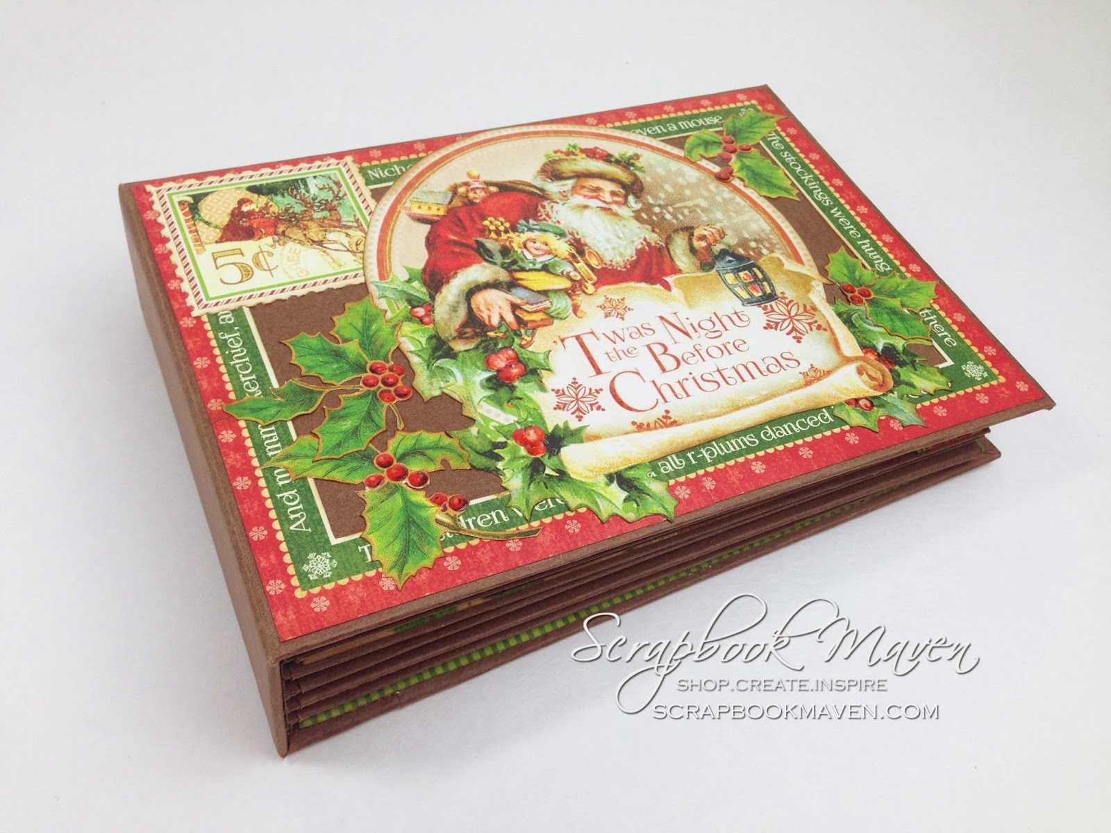 Scrapbook Maven mini album inspiration using Graphic 45 'Twas the Night Before Christmas Paper Collection