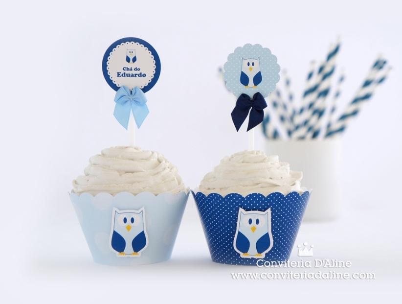 corujinha topper wrapper cupcake personalizado