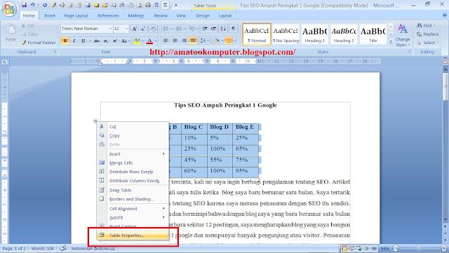 cara menggabungkan tabel dengan dokumen di microsoft word 2007 1 cara