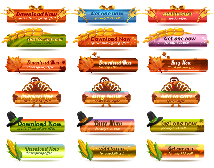 Free Thanksgiving Buttons PSD