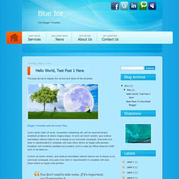 Blue Ice Blogger Template. blogger template from css template. template business for blog