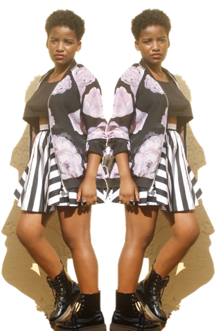 mr price floral bomber jacket and mr price black and white striped skater skirt