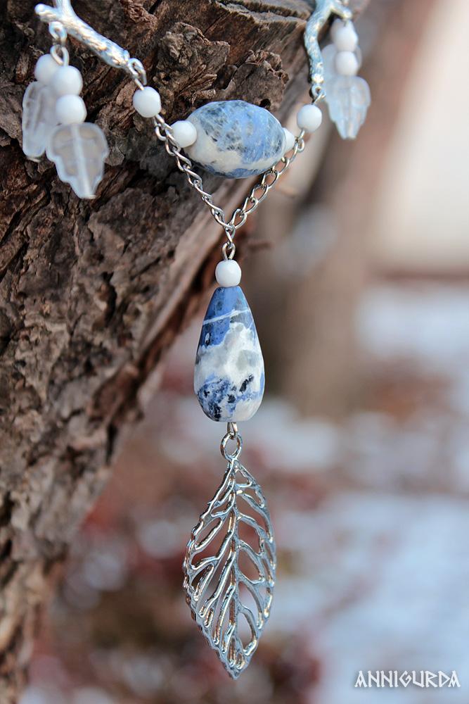 украшение, кулон, камни, натуральные камни, голубой, белый, листья, зима