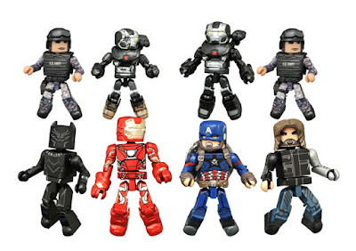 Captain America: Civil War Marvel Minimates Series - Captain America with Winter Soldier, Iron Man with Black Panther, War Machine with Navy Seal & Battle-Damaged War Machine with Navy Seal