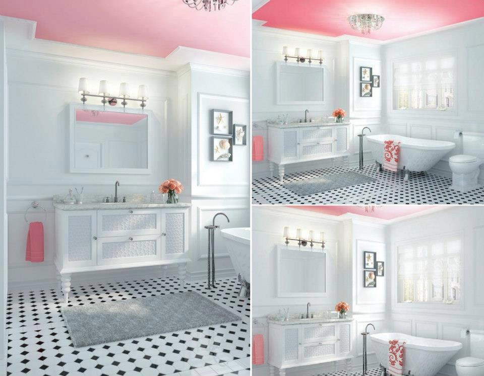 Bellart Atelier Decoração  Banheiros -> Banheiro Pequeno Decorado Rosa