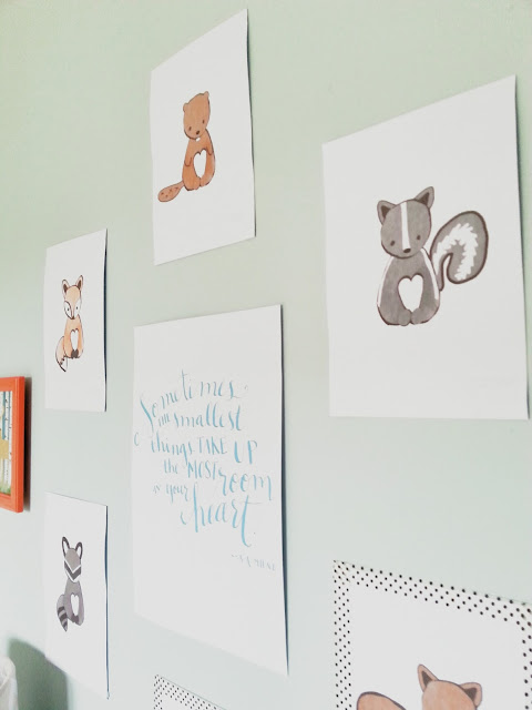 washi tape frame woodland nursery gallery wall