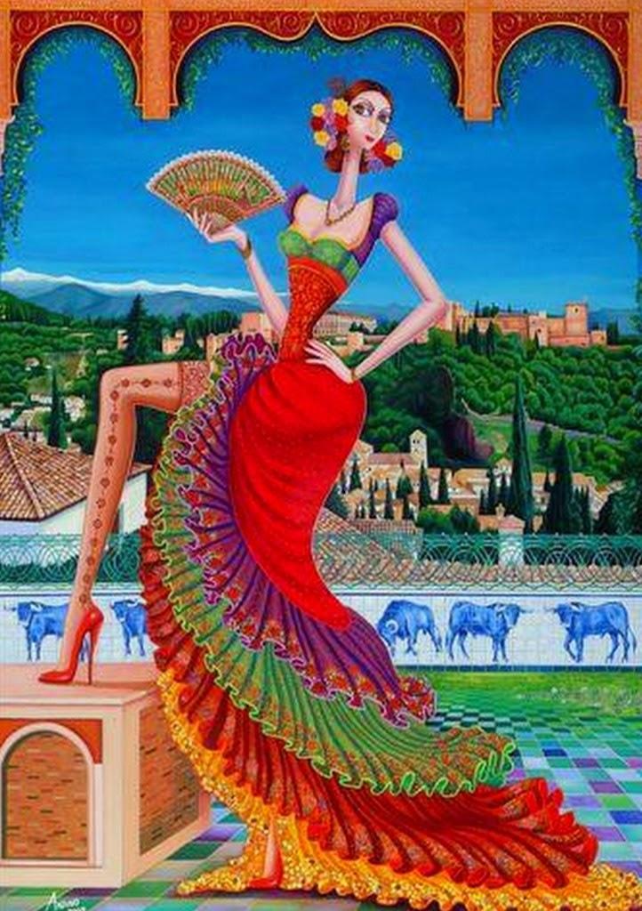 Cuadros pinturas oleos cuadros modernos de mujeres bailando flamenco - Cuadros de meninas modernos ...