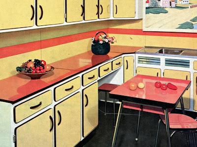 Pub cuisine en formica jaune & rouge années 50/60