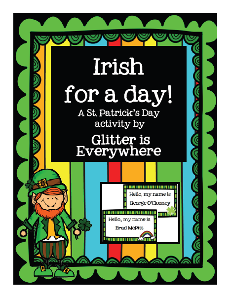 http://www.teacherspayteachers.com/Product/Irish-for-a-Day-A-St-Patricks-Day-Activity-1160529