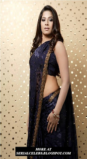 Meenal in blue low hip saree