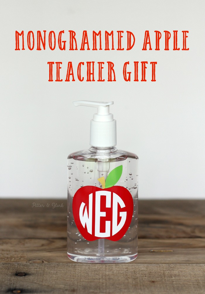Inexpensive Monogrammed Apple Teacher Gift Idea www.pitterandglink.com