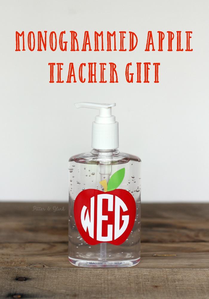 Inexpensive Monogrammed Apple Teacher Gift Idea www.pitterandglink.com
